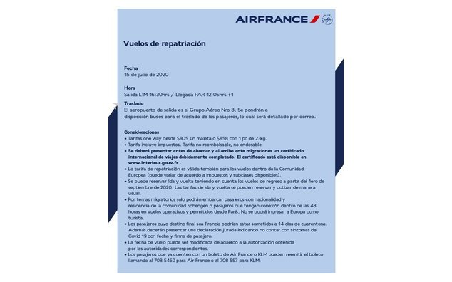 Air France - Vol Lima- Paris du 15 juillet
